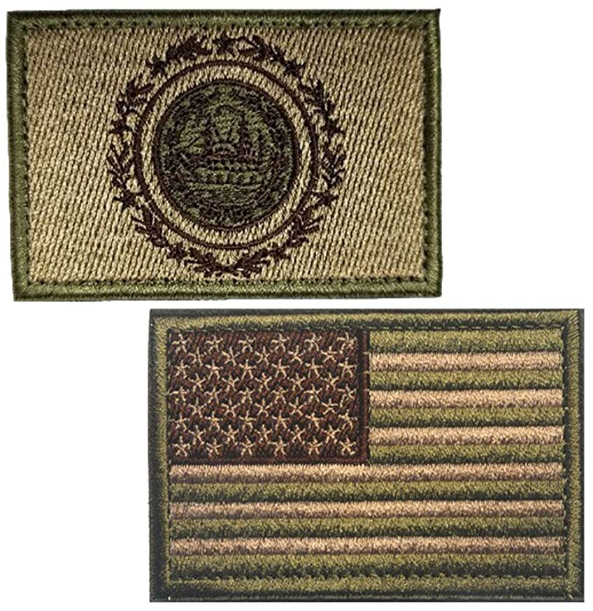 Embroidery USA Flag and New Hampshire Flag Patch (Color 3)