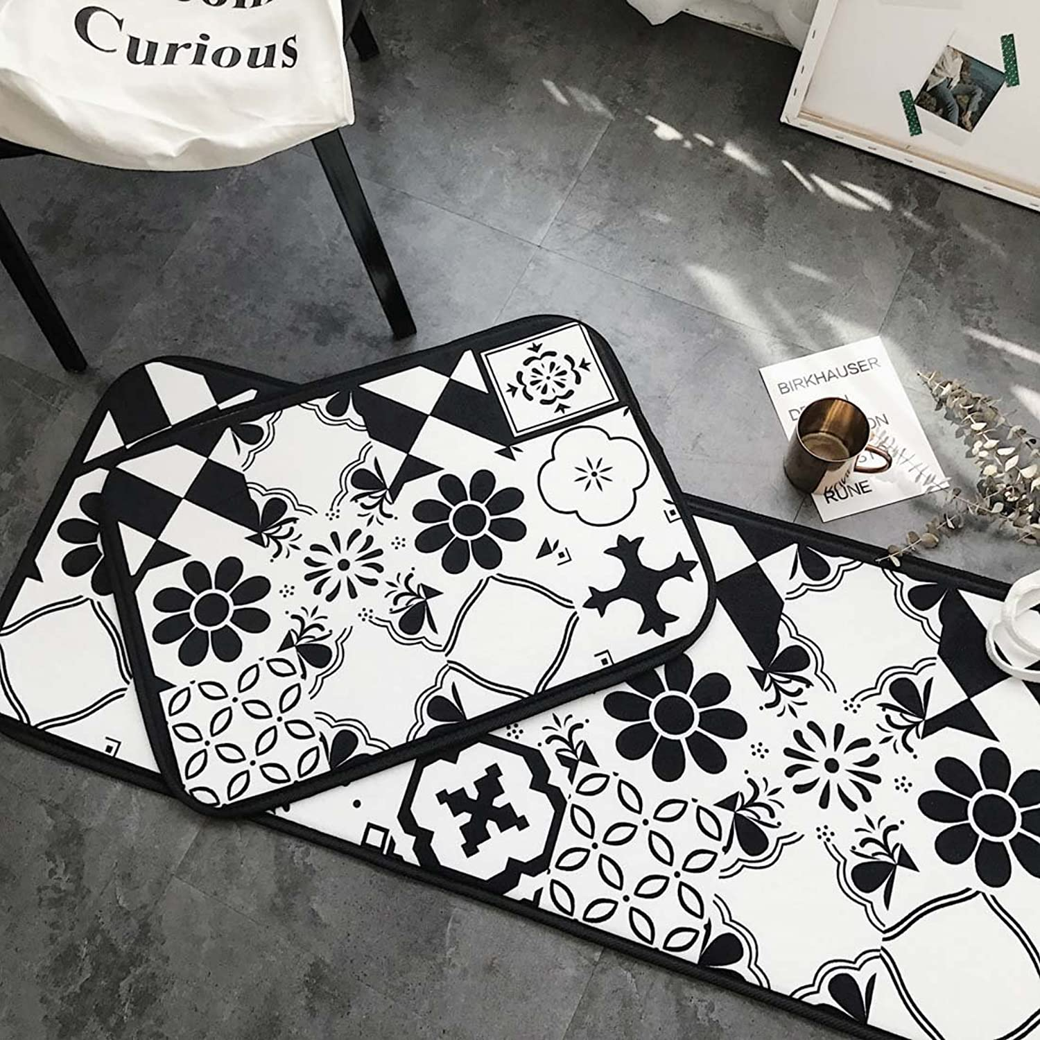Babe MAPS Indoor Outdoor 2PCS Doormat Entrance Welcome Mat Absorbent Runner Inserts Non Slip Entry Rug Funny Mosaic Bricks Pattern, Home Decor Inside shoes Scraper Floor Carpet 19 x27  19 x58