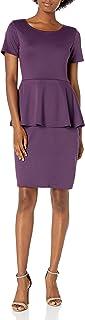 Star Vixen Women's Ss Classic Str Ponte Peplum Dress