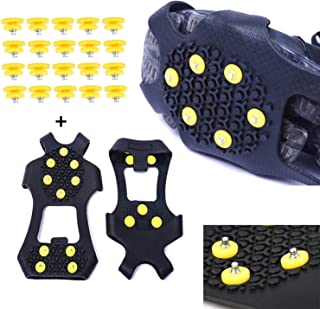 Wistar Hiking Cleats Ice Grippers Traction Ice Cleat and Tread Grip for Snow & Ice Black Rubber Spike Shoes and Boots