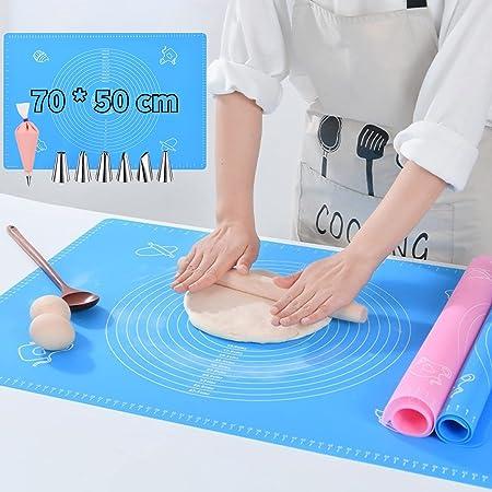 VLVEE Tapis de Cuisson Silicone Anti-adhésif, 50 * 70cm Tapis de pâtisserie en Silicone Antidérapant, avec Douilles, Coupleurs, Poches à Douille réutilisables