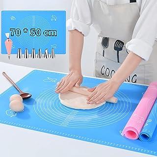 VLVEE Tapis de Cuisson Silicone Anti-adhésif, 50 * 70cm Tapis de pâtisserie en Silicone Antidérapant, avec Douilles, Coupl...