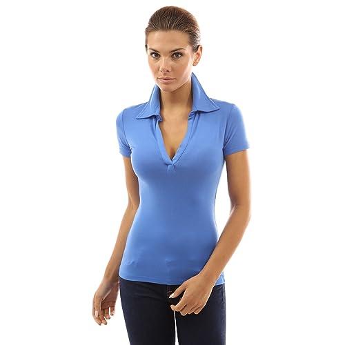 202f191b1dc34 PattyBoutik Women s V Neck Short Sleeve Polo Shirt
