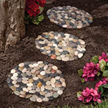 Bits and Pieces - Round Riverstone Stepping Stones Set - Decorative Stones for Your Garden