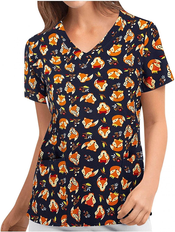 MASZONE Scrub_Top for Women Cute Floral Print Nurses_Tunic V-Neck Work Uniform Short Sleeve T-Shirt Casual Workwear Tops