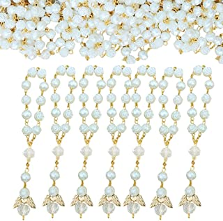 Awtilife 30 Pc San Joaquin Creations Ivory Color and 30 Organza Gift Bags Baptism Favors with Angels Mini Rosaries Gold Plated for Christening Favors Baby Shower