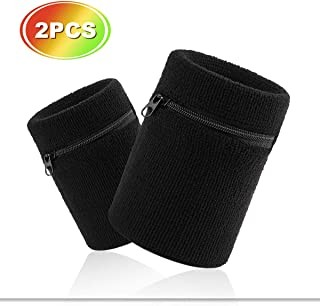 Hoter Sports Thick Solid Color Wristband with Zipper/Wrist Wallet