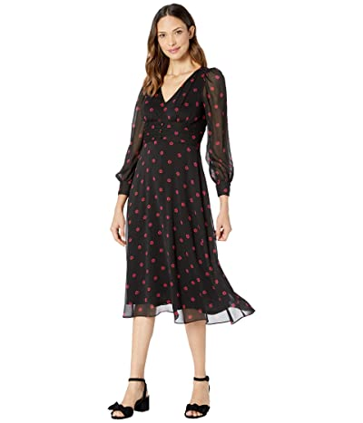 Adrianna Papell Daisy Dot Printed Chiffon Midi Dress (Red/Black) Women