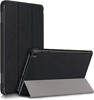 Asng Fire HD 8 2020 / HD 8 Plus ケース 三つ折りスタンドカバー 超薄型 超軽量 マグネット オートスリープケース PU レザーカバー (Black)