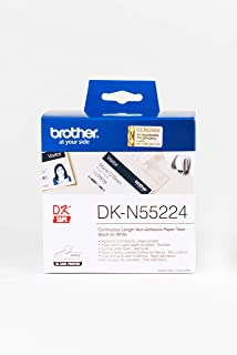 Brother DK-N55224 Label Roll, Non-Adhesive Continuous Length Paper, Black on Yellow, Single Label Roll, 54 mm (W) x 30.48M...