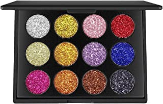 DONGXIUB 12 Colors Glitter Powder Makeup Palette Professional Long Lasting Shimmer Eyeshadow Palette Mineral Pressed Glitter