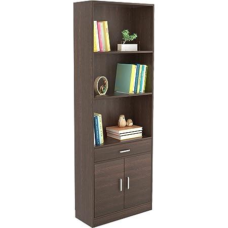 BLUEWUD Seonn Engineered Wood Bookshelf with 2 Doors Storage Cabinet with Drawer (Wenge Finish)