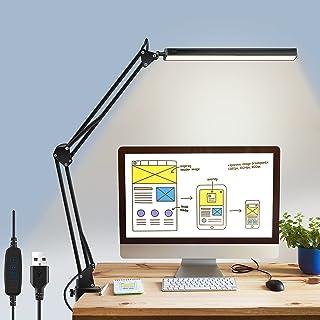 Tobeape LED Desk Lamp, Adjustable 10W Eye-Caring Metal Swing Arm Desk Light with Clamp, 3 Color Modes 10 Brightness Level...
