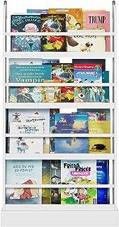 Homfa Bibliothèque Murale pour Enfants, 4 étagères, en Bois Blanc, 60 x 12 x 108,5 cm