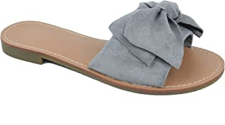 MaxMuxun Women Shoes Suede Bow Tie Flat Sandals Comfort Slip On Slides