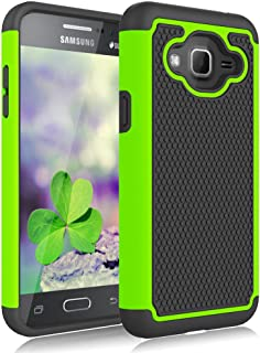 Galaxy Sky Case,Galaxy J3 Case,Galaxy Express Prime Case,Galaxy Amp Prime Case,J3V Case, Jeylly Shockproof Dual Layer Armor Defender Scratch Absorbing Hybrid Rubber Plastic Phone Case Cover - Green