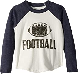 Super Soft Football Print Long Sleeve Raglan Tee (Toddler/Little Kids)