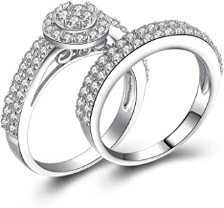 Ladies Jewelry 925 Sterling Silver Mothers Rings Engraved Halo Ring Round Cubic Zirconia Ring Set Size 5-12s
