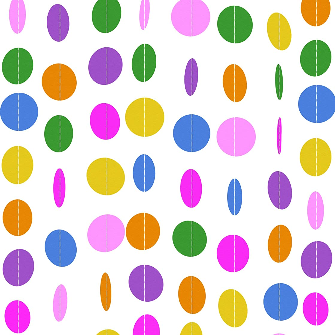 LURICO 13.1FT × 5 Pack Colorful Fiesta Streamers Paper Garland Circle Dots Hanging Decorations for Home Decor Birthday Party Wedding Decorations (66FT/20M)