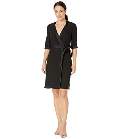 Tahari by ASL Elbow Sleeve Mock Wrap Crepe Dress (Black) Women