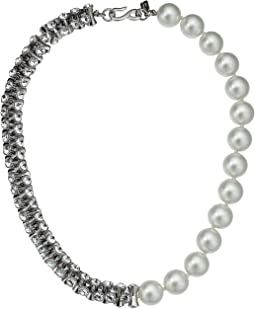 1/2 Light Cultura Pearl 1/2 Rhodium/Crystal Hourglass Bead Necklace