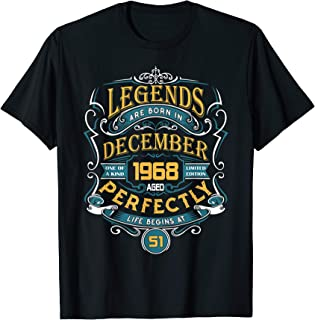 Legends Are Born In December 1968 51th Birthday Gift T-Shirt