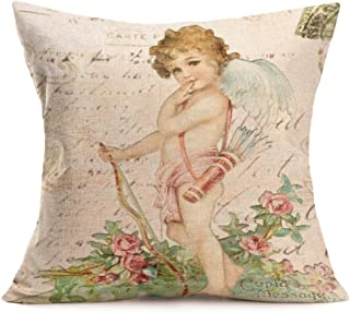 Asamour Ancient Myth Cupid's Arrow Throw Pillow Cover The Arrow of Love Romantic Cushion Case Square Home Decorative Pillow Sham for Valentine's Day Anniversary,Cotton Linen,18x18 Inches