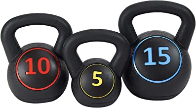 BalanceFrom Wide Grip 3-Piece Kettlebell Exercise Fitness Weight Set, Include 5 lbs, 10 lbs, 15 lbs or 10 lbs, 15 lbs, 20 lbs
