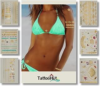 Tattoos - Gold Rainbow Glitter Metallic Temporary Tattoo Jewelry (100+) Tropical Hawaiian Holiday Sparkle Hearts Mermaid Seashells Flowers Stars Best Friend Bracelets Necklace Charms Boho (Fun Flash)