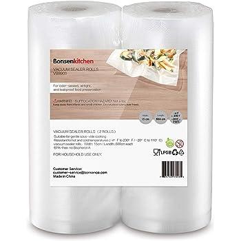 Bonsenkitchen Sottovuoto Sacchetti Alimenti 2 Rotoli 15x600 cm Sacchetti per Sottovuoto Rotoli Sacchetti goffrati,Approvazione FDA e BPA gratuito