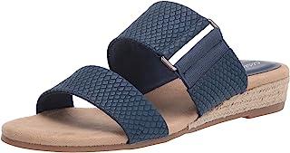 Easy Street Women's Wedge Sandal, Navy Snake, 9 X-Wide
