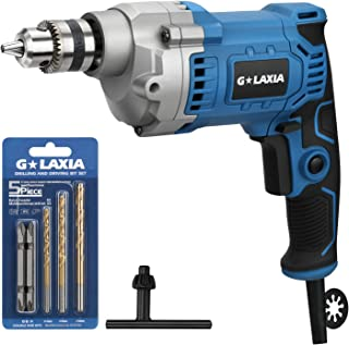 GLAXIA Professional 6A 3/8-Inch Corded Drill, Variable Speed 0-3200RPM, 6.56feet/2m cord, Aluminum Gear Case, Rubberized Grip, Forward/Reverse and Lock-On Button
