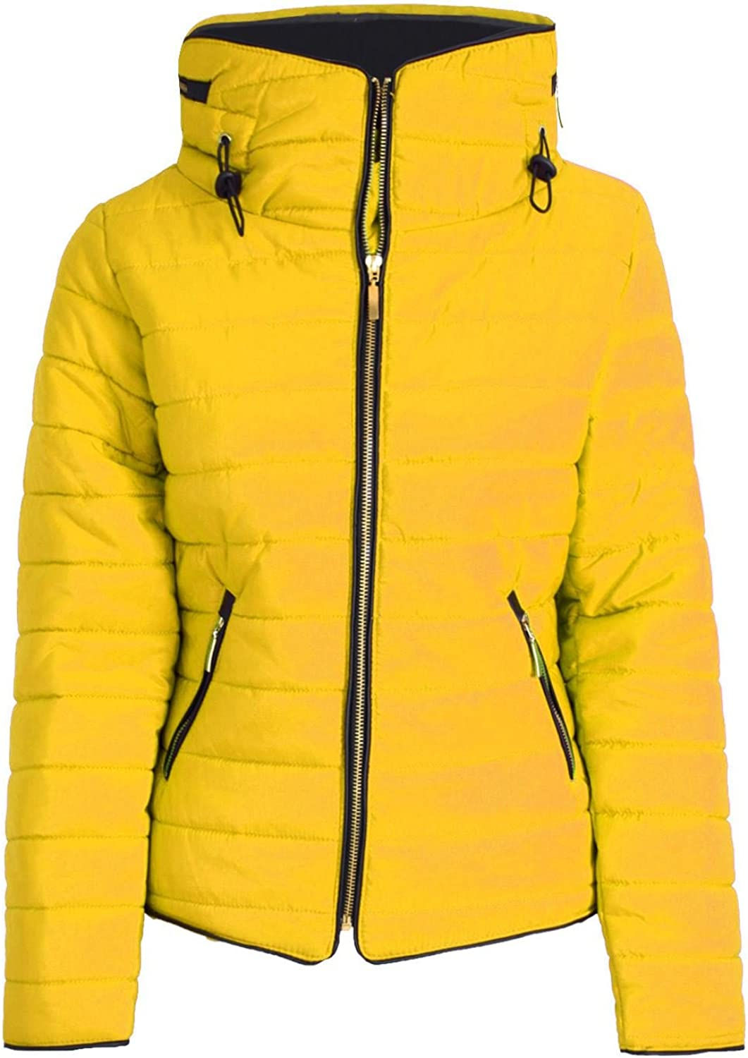 Oops Outlet Women's Padded Quilted Puffer Bubble Fur Collar Zip Up Coat Jacket