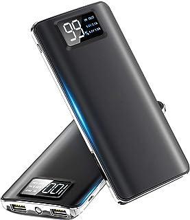 【2021最新版】モバイルバッテリー 大容量 15600mAh スマホ充電器 LCD残量表示 2つUSB出力ポート(1A+2.1A)急速充電バッテリー 軽量 薄型 旅行/緊急用 Android/iPhone/iPad対応 (ブラック)