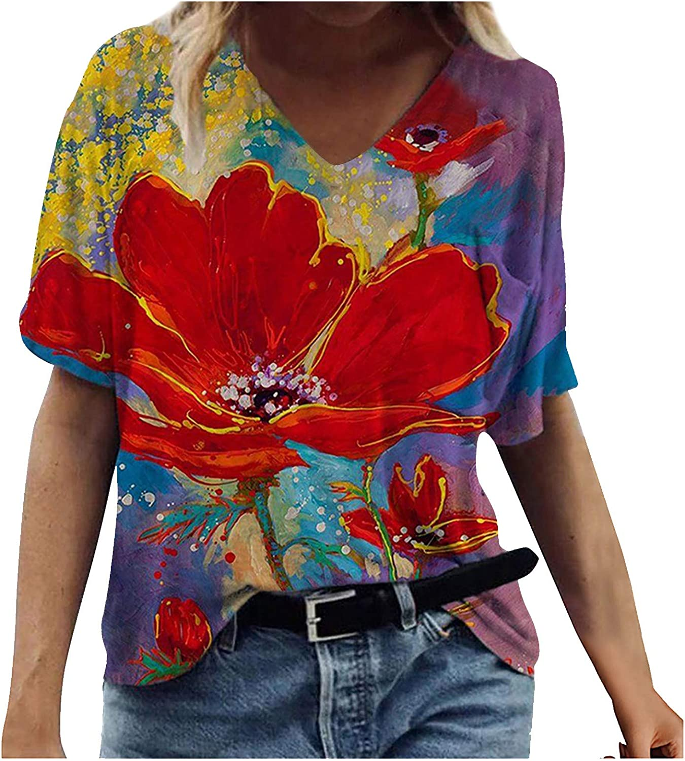 Tops for Women Casual Summer,Womens Short Sleeve Shirts Tshirts Blouse Casual Tops Loose Fit Graphic