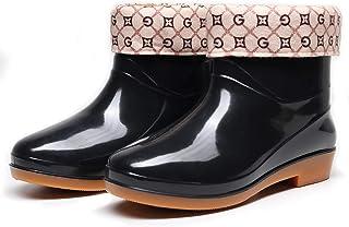 ROYDOM Women's Ankle Rain Boots with Removeable Keep Warm Socks Women Rubber Waterproof Rainboots Outdoor Garden Boot