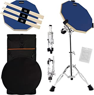 Silent Drum Practice Pad, 12 Inch Double Sided Drum Pad with Adjustable Snare Drum Stand and 3 Pairs of Drum Sticks for Drum Practice (Blue)