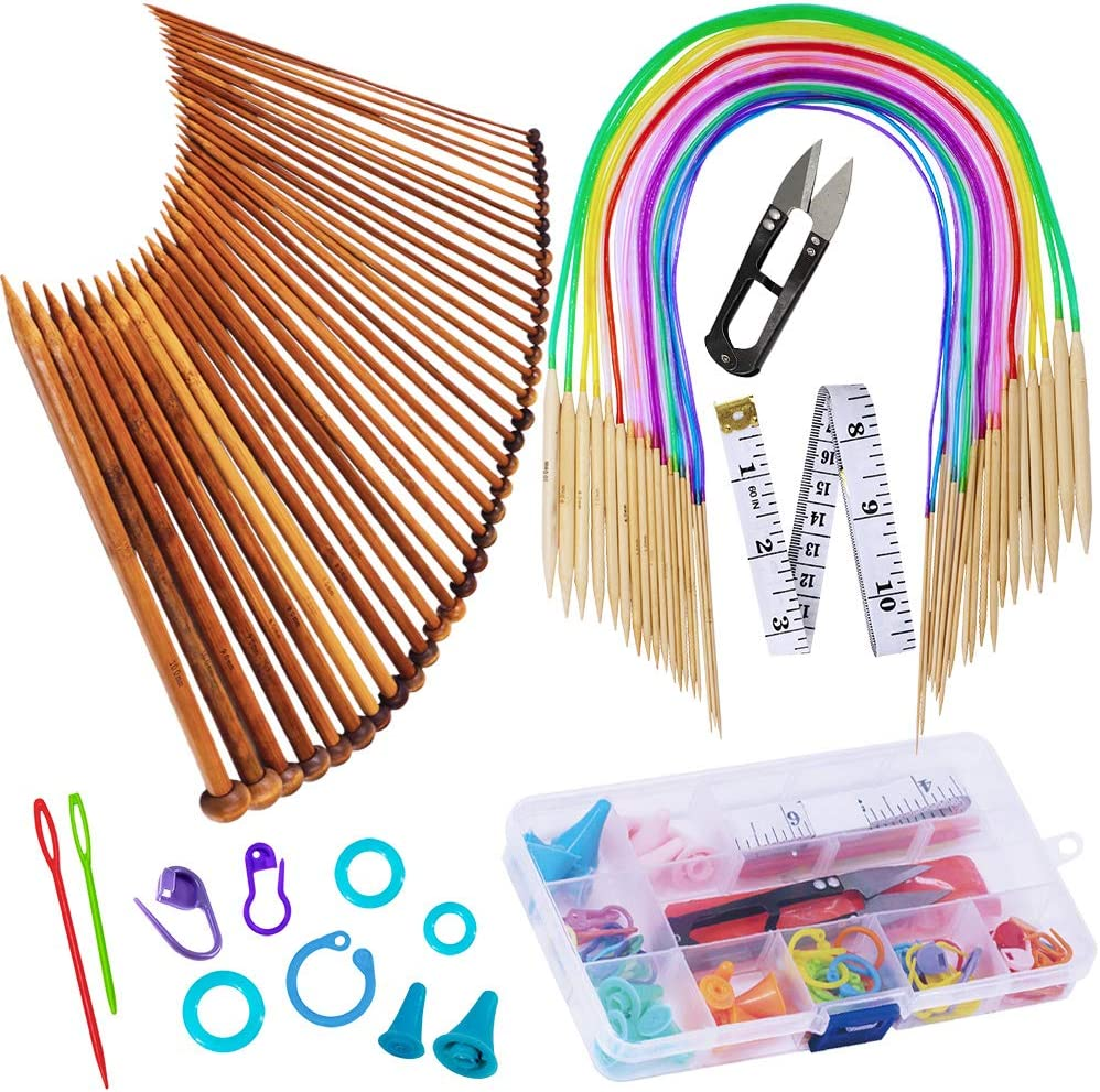 Exquiss Knitting Needles Set-18 Pairs Circular Sizes It is very popular Bamboo List price 18 K