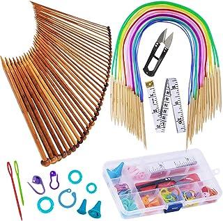 Exquiss Knitting Needles Set-18 Pairs 18 Sizes Bamboo Circular Knitting Needles with Colored Tube + 36 Pcs 18 Sizes Single...