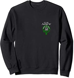 Clan Agnew Tartan Crest Design on Back and Left Chest Sweatshirt