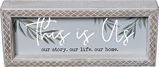 PrideCreation - 12x5 inch Inset Cutout Wood Metal Box Sign Decor, This is Us Our Story Our Life Our Home Framed Table/Desk Farmhouse Wall Signs Decor, Desk Block, Carved Rhombus Edge, Vintage/White