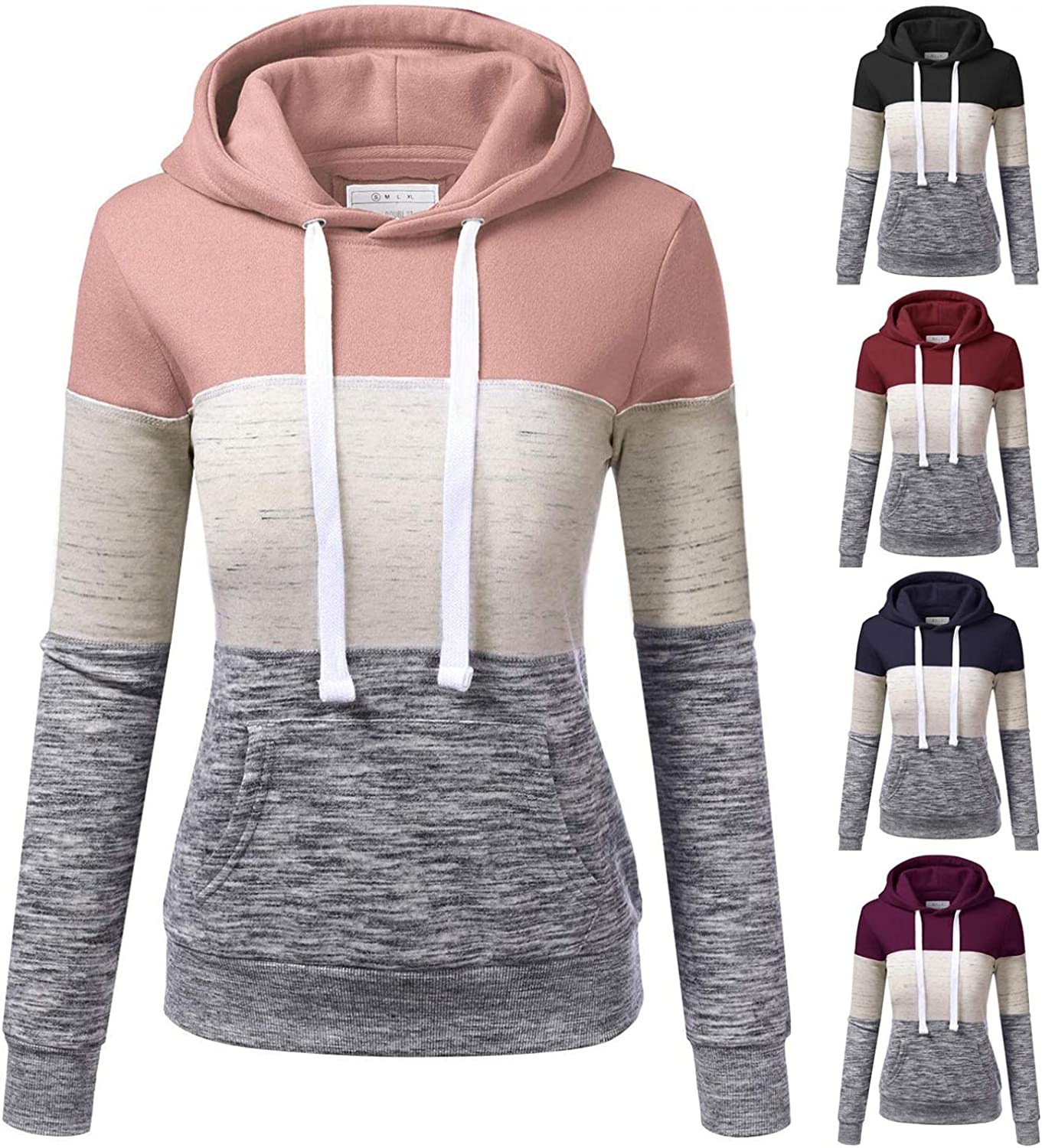 UOCUFY Sweatshirts for Women Hoodie Pullover Patchwork Blouses Long Sleeve Casual Stripe Hooded Drawstring Shirts with Pocket