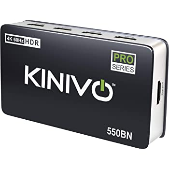 Kinivo 550BN 4K HDMI Switch with IR Wireless Remote (5 Port, 4K 60Hz HDR, HDMI 2.0, High Speed-18Gbps, Auto-Switching)