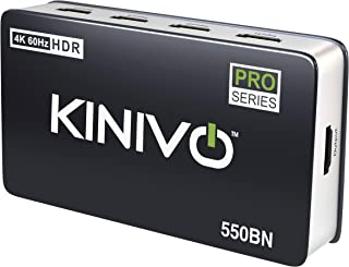 Kinivo HDMI Switch 4K HDR (5 Port, 4K 60Hz, HDMI 2.0, High Speed-18Gbps, Auto-Switching, IR Remote) - Compatible with Rok...