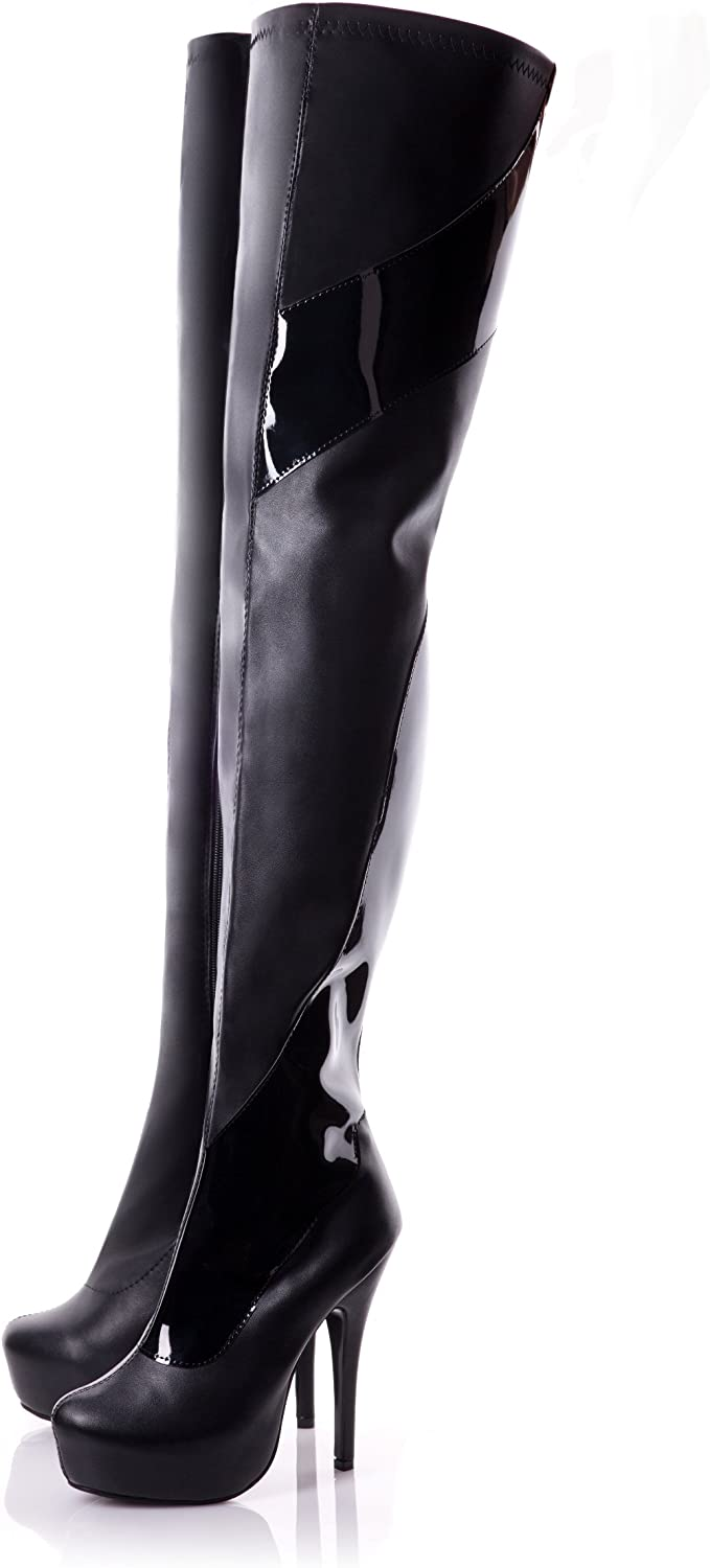 True Corset Playgirl Thigh High Black Matt Stiletto Boots with Patent Detail