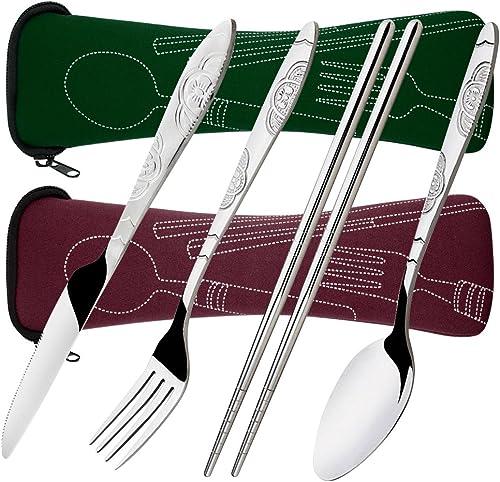 8 Pieces Flatware Sets Knife, Fork, Spoon, Chopsticks, SENHAI 2 Pack Rustproof Stainless Steel Tableware Dinnerware w...