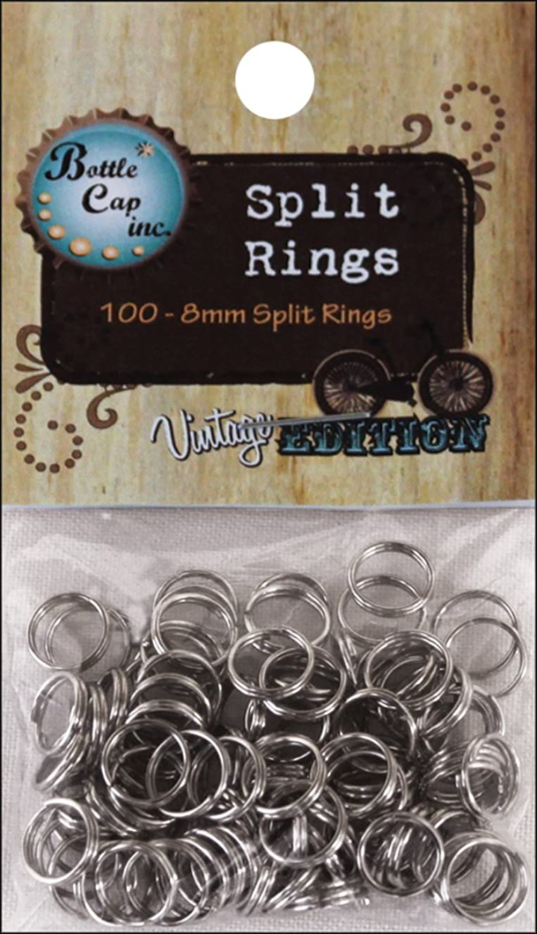 Bottle Cap SRSIL-10 Split Rings 8mm, Silver, 100-Piece