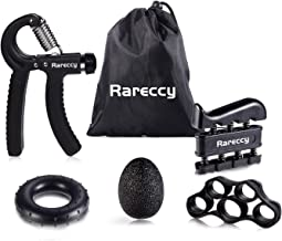 Rareccy Hand Grip Strengthener Workout Kit 5 Pack, Hand Grip Exerciser Set, Including Adjustable Resistance Hand Gripper + Finger Exerciser + Finger Stretcher + Stress Relief Grip Ball + Grip Ring