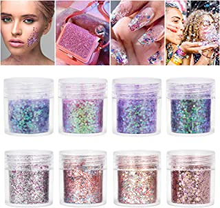 SUNEO Face Glitter 8 color Chunky Glitter with Cosmetic Glitter Sparkling Parties and Festivals Decoration For Face, Eyes, Nails, Hair, and Body (8PCS)