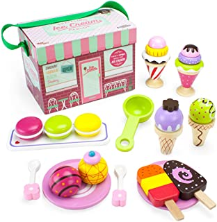 Imagination Generation Wood Eats! Wooden Play Food Traveling Ice Cream Parlor Playset with Popsicles, Ice Cream Sandwiche...